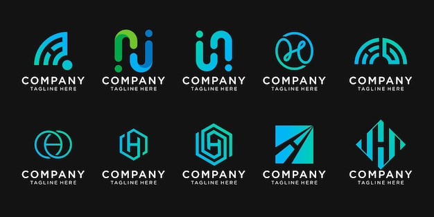 Zestaw szablonu logo pierwsza litera h kolekcji.