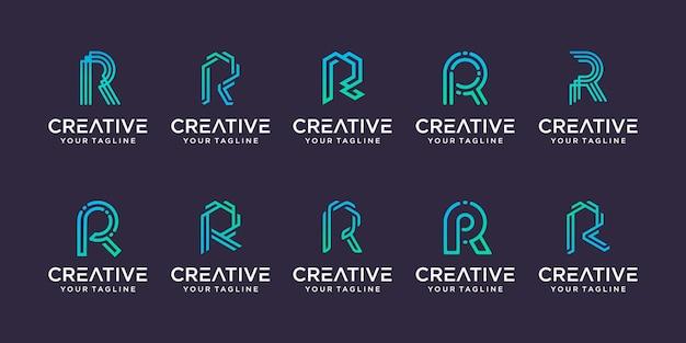 Zestaw szablonu logo pierwsza litera r kolekcji.