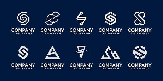 Zestaw szablonu logo pierwsza litera s kolekcji.
