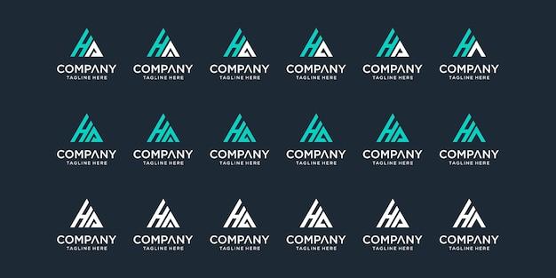 Zestaw szablonu logo pierwszej litery ha.