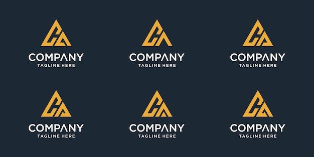 Zestaw Szablonu Logo Początkowa Litera Ca. Ikony Dla Biznesu Sportu, Motoryzacji, Proste. Wektor Premium Wektorów