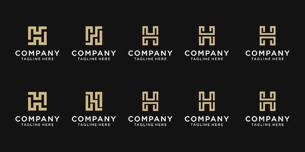 Zestaw szablonu logo początkowa litera h monogram