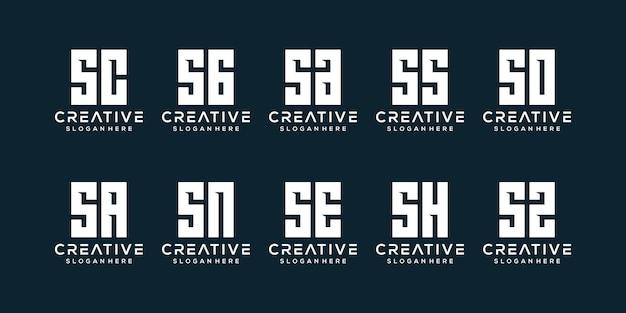 Zestaw szablonu logo początkowa litera monogram s