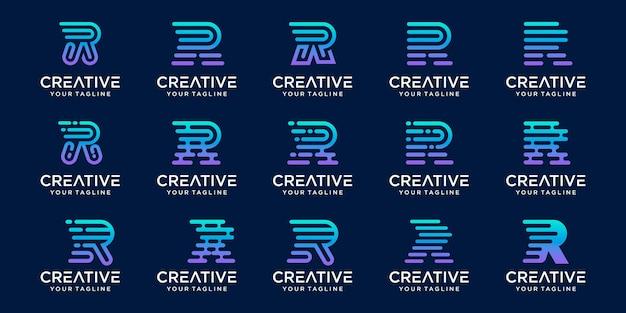 Zestaw szablonu logo początkowej litery prędkości kolekcji r rr.