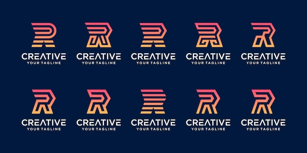 Zestaw szablonu logo początkowej litery prędkości monogram r.