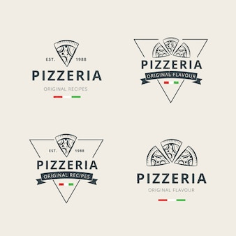 Zestaw szablonu logo profesjonalnej pizzy