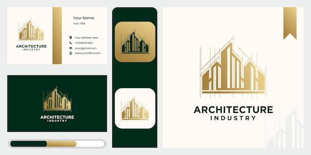 Zestaw szablonu logo projektu nowoczesnego budynku w kolorze złotym