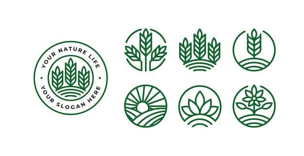 Zestaw szablonu logo przyrody z odznakami