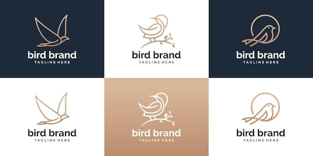 Zestaw szablonu logo ptaka w stylu sztuki linii. kolekcja kreatywnych streszczenie ptak logo.