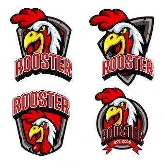 Zestaw szablonu logo restauracji kurczaka rooster esports