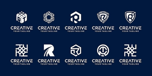 Zestaw szablonu logo rr litery r
