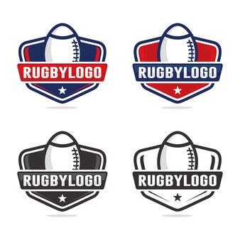 Zestaw Szablonu Logo Rugby Premium Wektorów