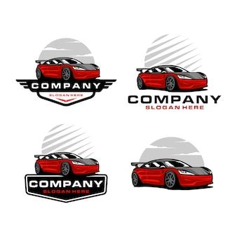 Zestaw szablonu logo samochodu sportowego