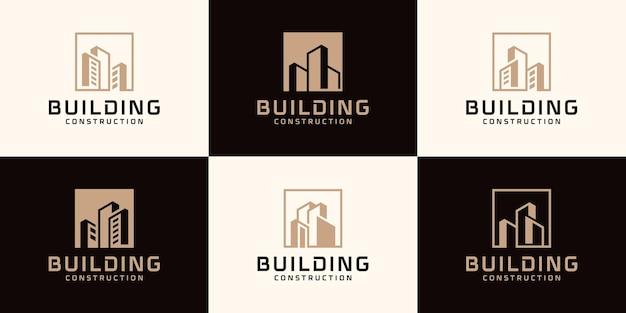 Zestaw szablonu logo streszczenie budynku