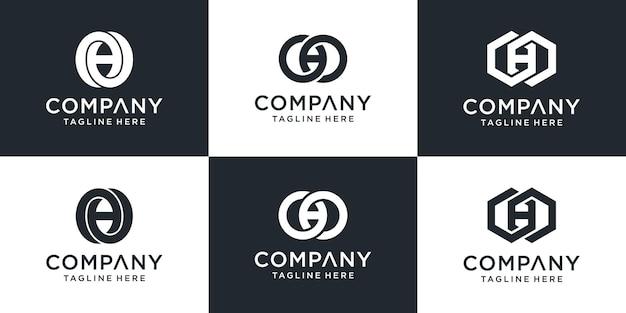 Zestaw szablonu logo streszczenie monogram list oho. ikony dla biznesu, budownictwa, technologii.
