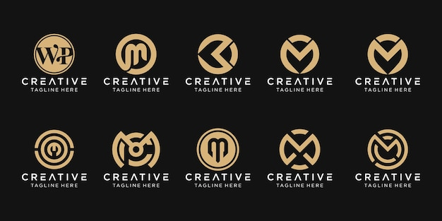 Zestaw szablonu logo streszczenie monogram litera m. ikony dla biznesu mody, sportu, motoryzacji, proste.