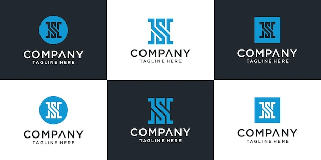Zestaw szablonu logo streszczenie monogram litery sh.