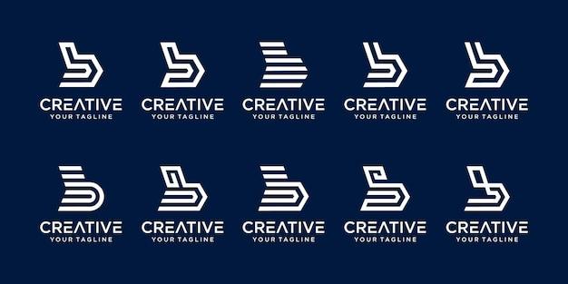 Zestaw szablonu logo streszczenie pierwsza litera b.
