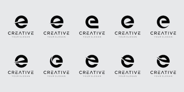 Zestaw szablonu logo streszczenie pierwsza litera e.