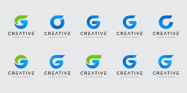 Zestaw szablonu logo streszczenie pierwsza litera g. ikony dla biznesu mody, technologii cyfrowych