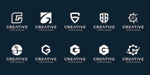 Zestaw szablonu logo streszczenie pierwsza litera g.
