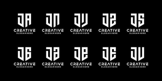 Zestaw szablonu logo streszczenie pierwsza litera j.