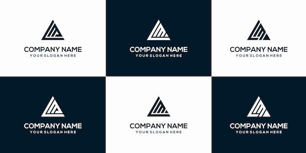 Zestaw szablonu logo streszczenie pierwsza litera lm.