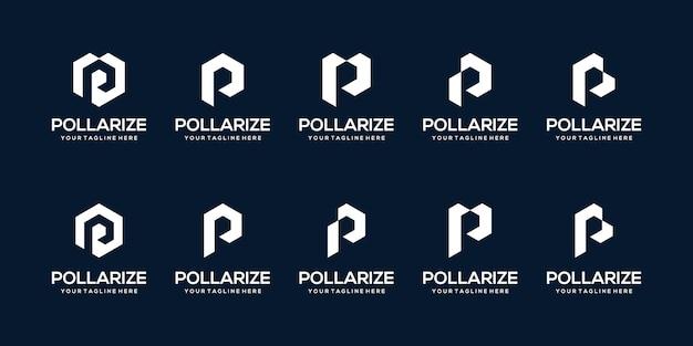 Zestaw szablonu logo streszczenie pierwsza litera p. ikony dla biznesu auto, sport.