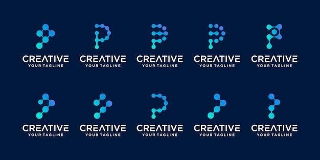 Zestaw szablonu logo streszczenie pierwsza litera p. ikony dla biznesu mody, technologii cyfrowych,