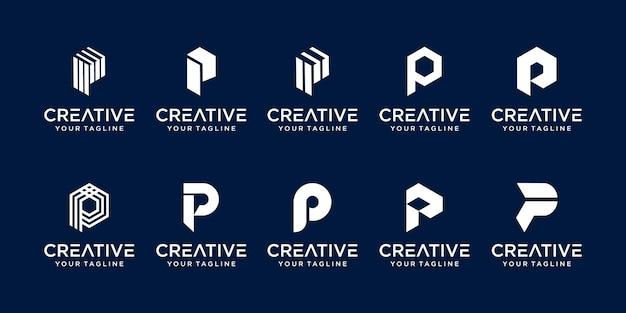 Zestaw Szablonu Logo Streszczenie Pierwsza Litera P. Premium Wektorów