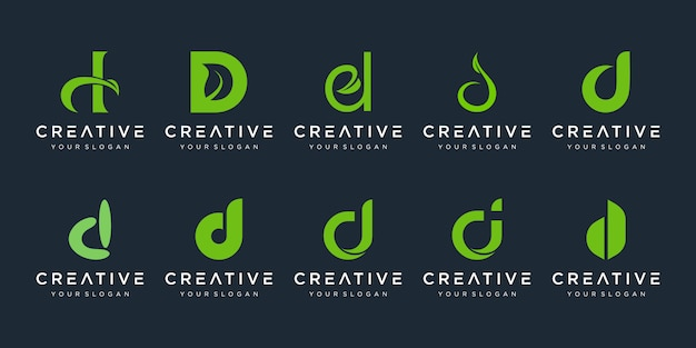 Zestaw szablonu logo streszczenie początkowa litera d. ikony dla biznesu piękna, spa, natury, czyste, proste.
