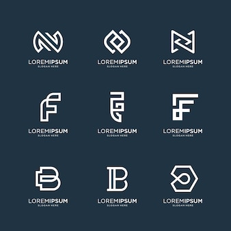Zestaw szablonu logo streszczenie początkową literę n, literę f i literę b. ikony dla biznesu luksusu, eleganckiego, prostego.