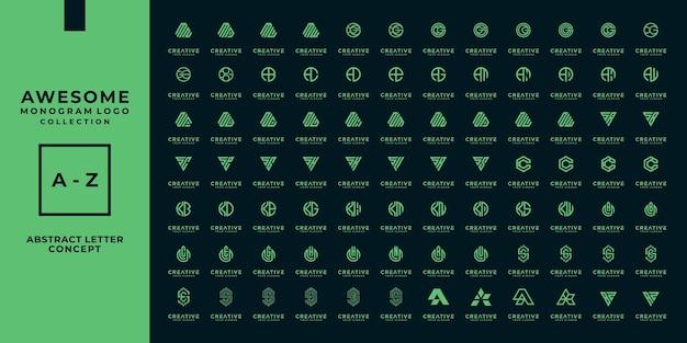 Zestaw szablonu logo streszczenie początkowy list. ikony dla biznesu modowego, cyfrowego, technologicznego