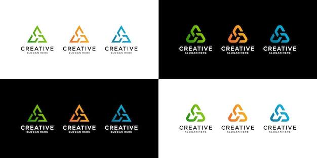 Zestaw szablonu logo trójkąta streszczenie początkowe litery ac. ja