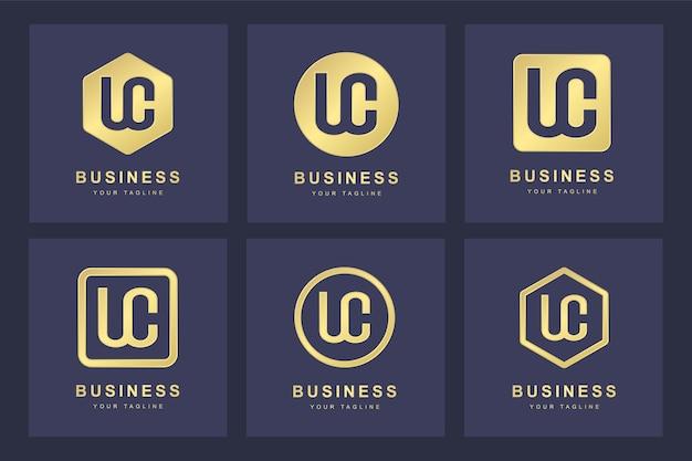 Zestaw szablonu logo uc uc streszczenie pierwsza litera.