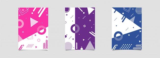 Zestaw szablonu lub ulotki z geometrycznym abstrakcyjnym elementem zdobione dalej.