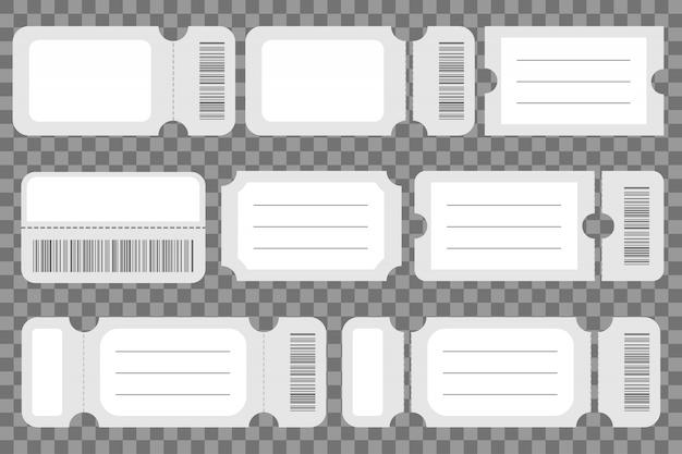 Zestaw szablonu makieta pusty bilet.