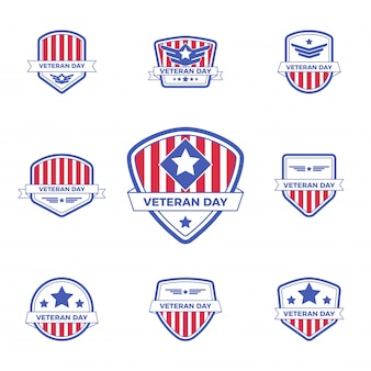 Zestaw szablonu odznaka logo dzień weterana z czerwono-niebieskim wzorem na wydarzenie lub pieczęć.