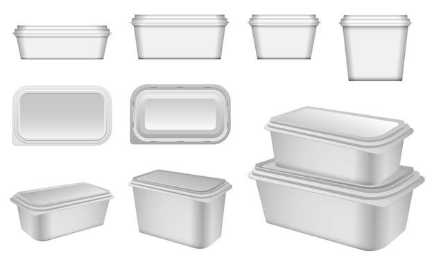 Zestaw szablonu opakowania lub koncepcja szablonu opakowania produktu w pudełku