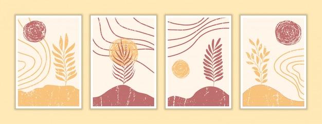 Zestaw szablonu plakat streszczenie tło. ręcznie rysowane doodle różne kształty, liście, współczesne nowoczesne modne ilustracje.