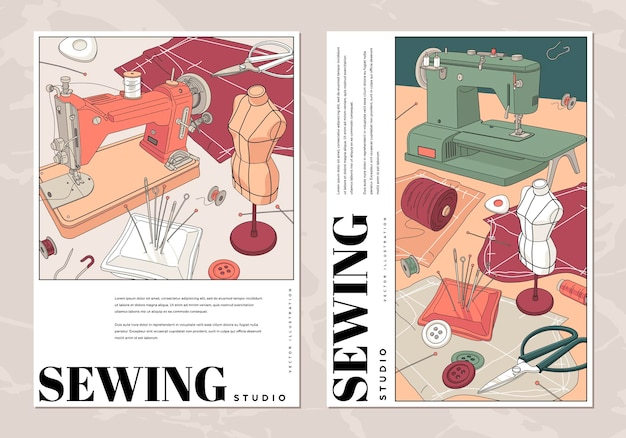 Zestaw szablonu plakatu studio szycia