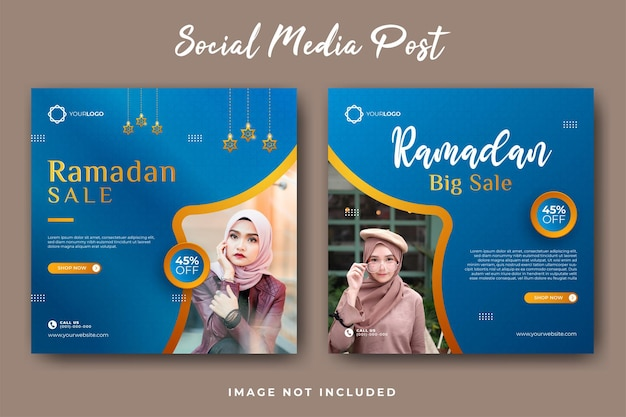 Zestaw szablonu postu w mediach społecznościowych z dużą sprzedażą ramadanu