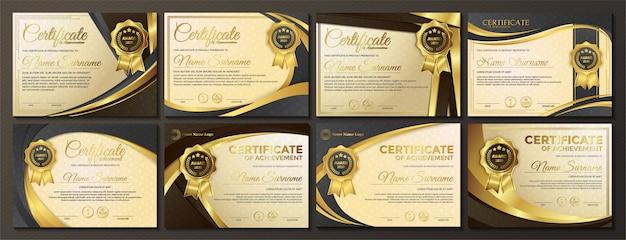 Zestaw szablonu premii złoty czarny certyfikat