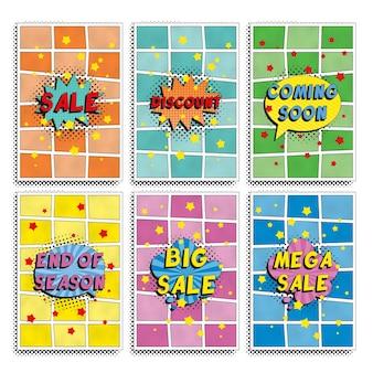 Zestaw szablonu projektu banerów `` sprzedaż '' w stylu retro pop-art. ilustracja promocji prostych płaskich kolorów. łatwe do edycji i dostosowywania.