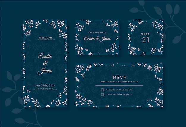 Zestaw szablonu projektu elegancki niebieski ślub zaproszenia karty