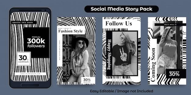 Zestaw szablonu projektu historii na instagramie w promocji mody w czerni i bieli. dobry do banerów, reklam internetowych itp