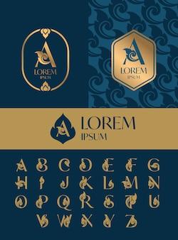 Zestaw szablonu projektu ikona logo list, tajski styl sztuki