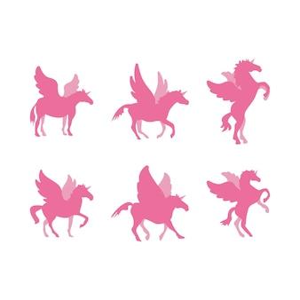 Zestaw szablonu projektu ilustracja konia jednorożca