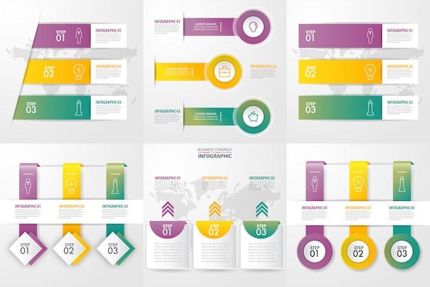Zestaw szablonu projektu infografiki biznesowych do prezentacji. graficzna ilustracja