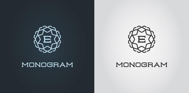 Zestaw szablonu projektu kompaktowego monogramu z listową ilustracją premium elegancka jakość